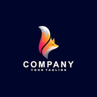 Design de logotipo gradiente animal fox