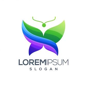 Design de logotipo gradiente colorido de borboleta