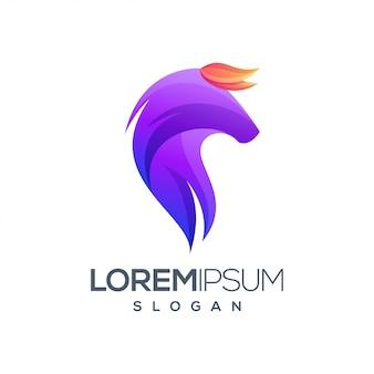 Design de logotipo gradiente colorido de cavalo