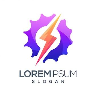 Design de logotipo gradiente colorido de relâmpago de engrenagem