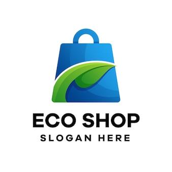 Design de logotipo gradiente da eco shop