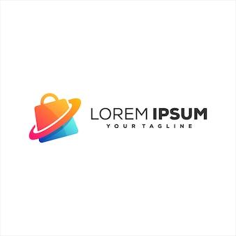 Design de logotipo gradiente da loja de malas