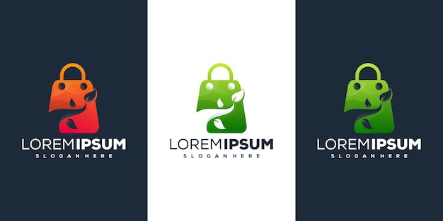 Design de logotipo gradiente da loja online
