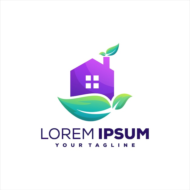 Design de logotipo gradiente da natureza da casa
