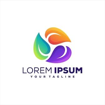 Design de logotipo gradiente da natureza da folha