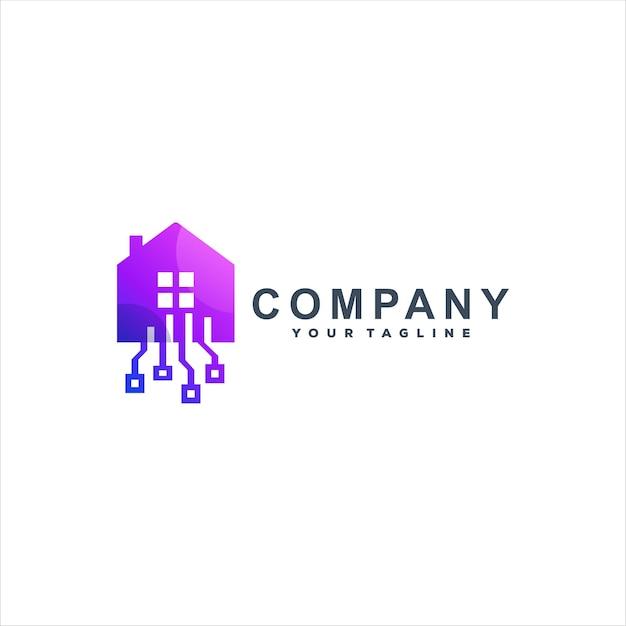 Design de logotipo gradiente da tech house