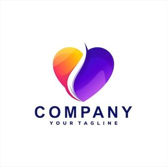 Design de logotipo gradiente de amor abstrato
