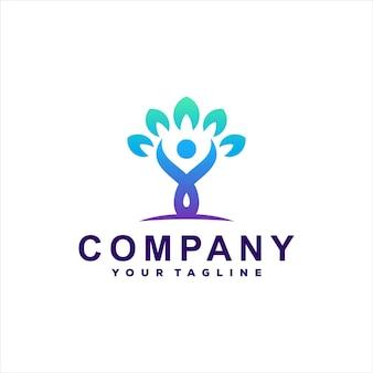 Design de logotipo gradiente de árvore de pessoas