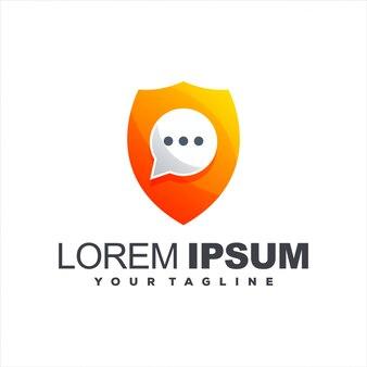 Design de logotipo gradiente de bate-papo com escudo