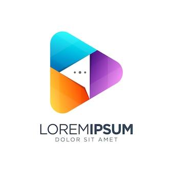Design de logotipo gradiente de bolha de bate-papo