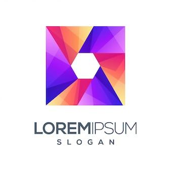Design de logotipo gradiente de caixa hexágono