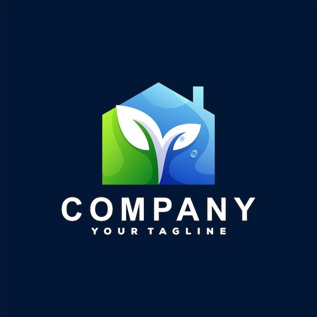 Design de logotipo gradiente de casa verde