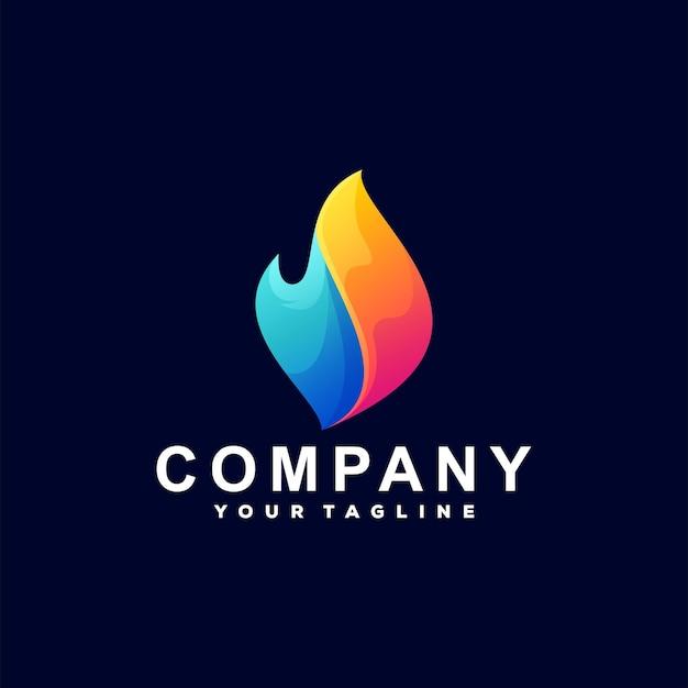 Design de logotipo gradiente de chama de fogo