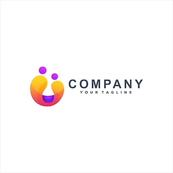 Design de logotipo gradiente de cor abstrata