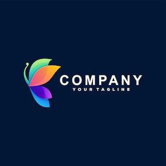 Design de logotipo gradiente de cor de borboleta Vetor Premium
