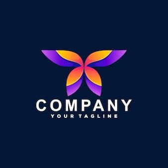 Design de logotipo gradiente de cor de borboleta