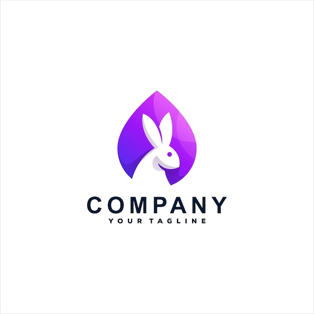 Design de logotipo gradiente de cor de coelho Vetor Premium