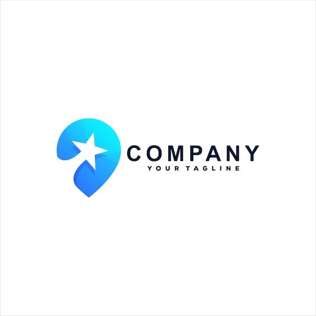 Design de logotipo gradiente de cor de estrela Vetor Premium