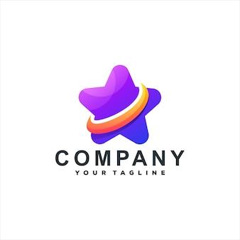 Design de logotipo gradiente de cor de estrela