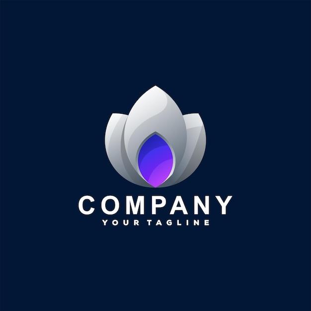 Design de logotipo gradiente de cor de flor