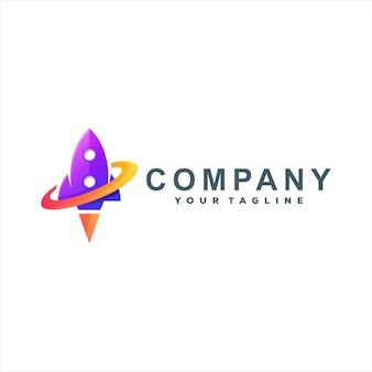 Design de logotipo gradiente de cor de foguete