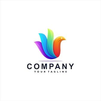 Design de logotipo gradiente de cor de pássaro Vetor Premium