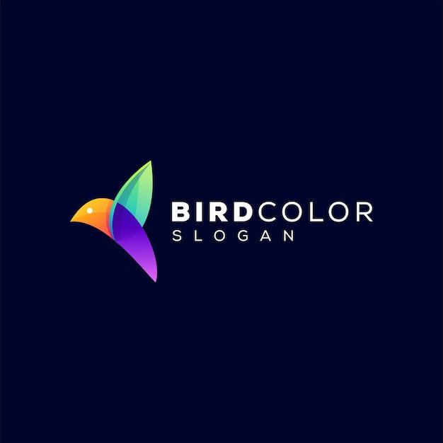 Design de logotipo gradiente de cor de pássaro
