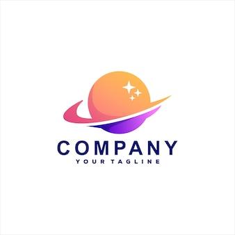 Design de logotipo gradiente de cor do planeta