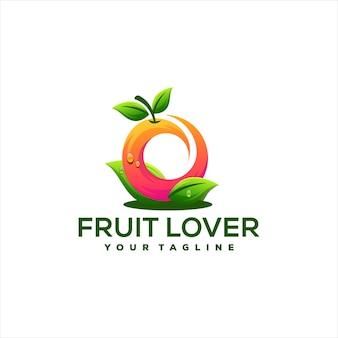 Design de logotipo gradiente de cores de frutas