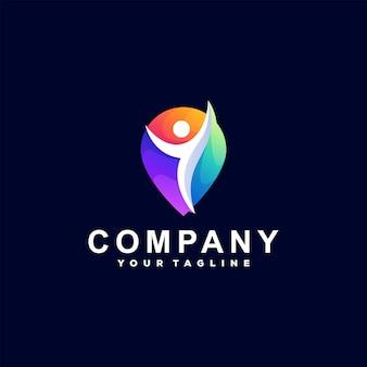Design de logotipo gradiente de cores de pessoas