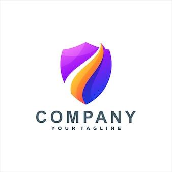 Design de logotipo gradiente de escudo abstrato