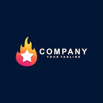 Design de logotipo gradiente de estrela chama