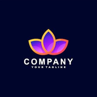 Design de logotipo gradiente de flor de lótus