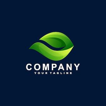 Design de logotipo gradiente de folha verde