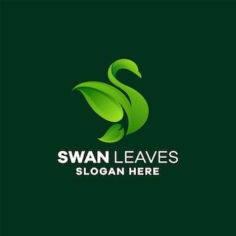 Design de logotipo gradiente de folhas de cisne