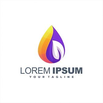 Design de logotipo gradiente de folhas impressionantes