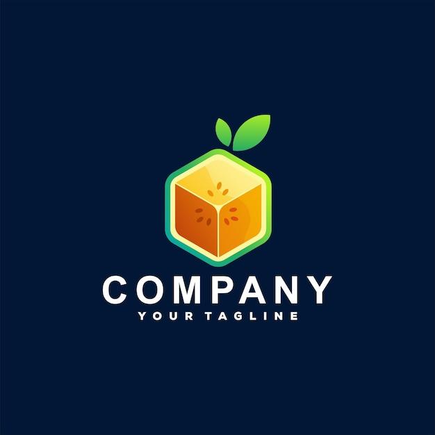 Design de logotipo gradiente de fruta em cubo