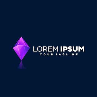 Design de logotipo gradiente de gema de diamante
