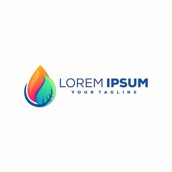 Design de logotipo gradiente de gota de folha