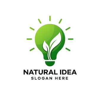 Design de logotipo gradiente de ideia natural