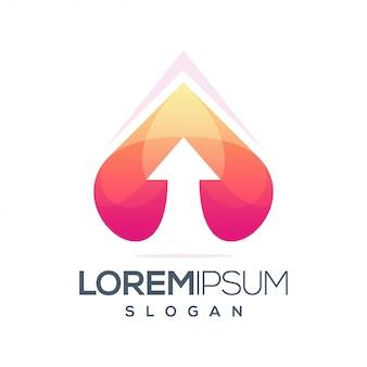 Design de logotipo gradiente de inspiração coração e flecha