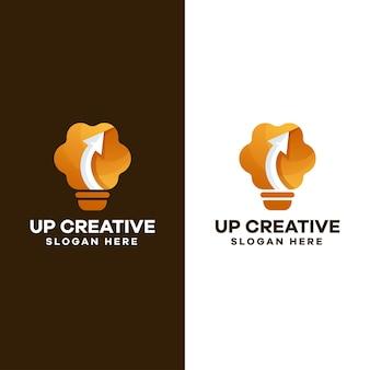 Design de logotipo gradiente de lâmpada cerebral