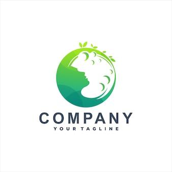 Design de logotipo gradiente de natureza verde