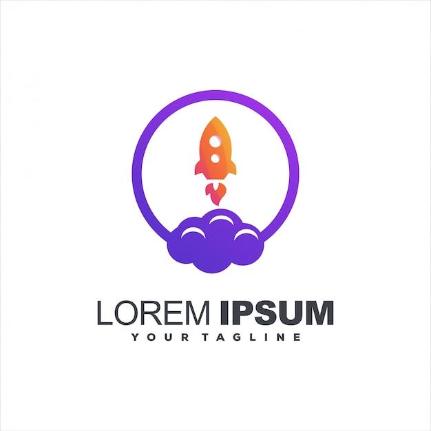 Design de logotipo gradiente de nuvem de foguete Vetor Premium
