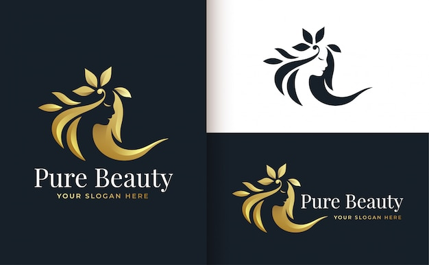 Design de logotipo gradiente de ouro de salão de cabeleireiro de mulher