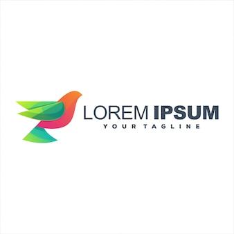 Design de logotipo gradiente de pássaro impressionante