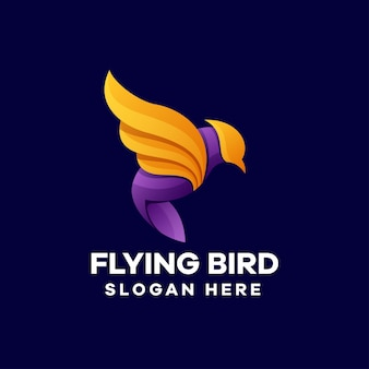 Design de logotipo gradiente de pássaro voador