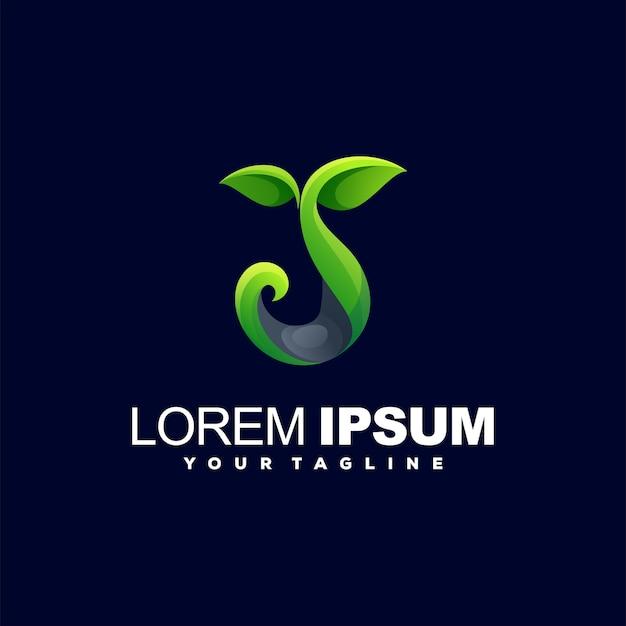 Design de logotipo gradiente de planta verde