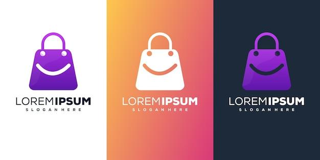 Design de logotipo gradiente de sacola de compras