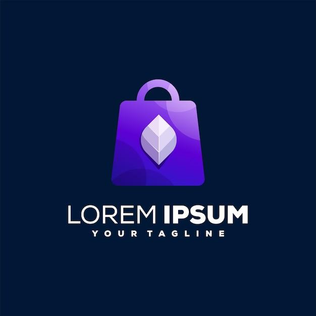 Design de logotipo gradiente de sacola